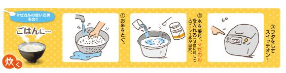 ごはんを炊くときに水から混ぜます。