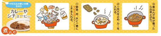 カレーも味噌室と一緒で材料を煮る段階から入れます。
