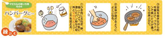 ハンバーグは生地から入れます。全体をよく混ぜてください。