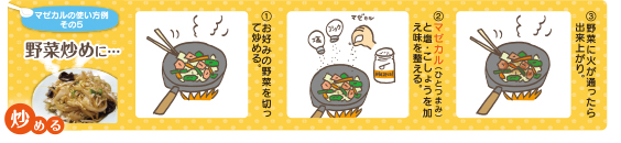 野菜炒めは塩コショウと同じタイミングでふりかけてください。