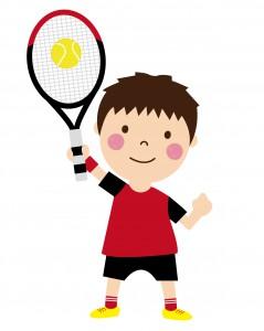 身長が伸びたので、テニスで大活躍です